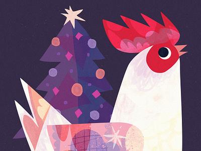 Chickmas holidays festive illustration art cute birb bird tree christmas tree christmas chicken