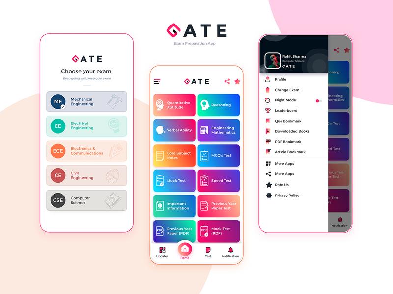 Gate Exam Preparation App bottom bar bottom nav app icons sets home menu elearning courses homepage android app design exam e learning education application