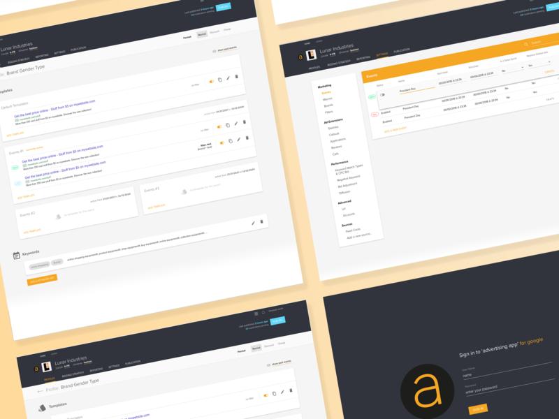 SEM App - UI design and front end developement materialdesign material design b2b advertising ui ui design