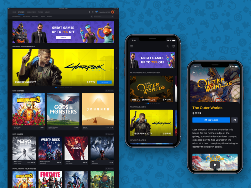 Epic Games Store Launcher business mobile design ui ux design the outer worlds cyberpunk 2077 steam game app play shop store design store app game design games freelancer app design desktop app dashboard app designer mobile app mobile ui