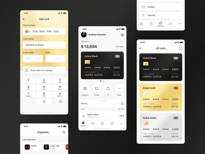 Dubai Bank Mobile App gold card bank card card design black card minimalistic clear mobile bank bank app banking wallet crypto wallet finance premium premium design golden gold arabian arabic dubai mobile app