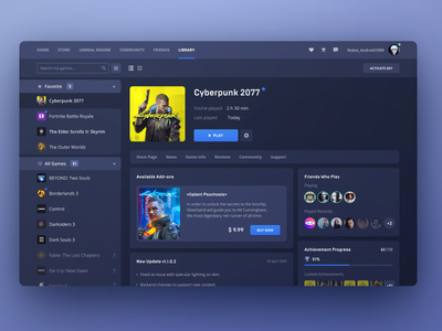 Game Store Launcher design system atomic design freelancer ui design game library cyberpunk 2077 steam launcher desktop app dashboad business modern clean ui ui  ux game