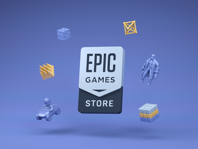 Epic Games Store cinema4d photoshop freelance branding vector steam epic games store cyberpunk 2077 3d design logo illustration games