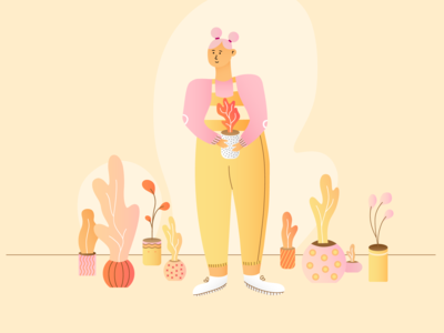A girl with plants