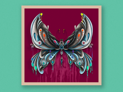 butterfly digital painting color surreal nature art brush vector photoshop illustration design