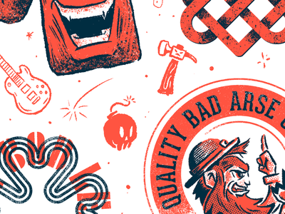 WIP - flash sheet Riso 2color art mixed media inked lettering character branding brush photoshop fun vector design illustration risograph