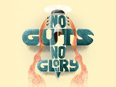 No Guts No Glory inked art digital mixed media design vector fun brush character photoshop illustration