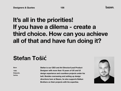 Quote - Stefan Tosic motivational quotes motivationalquote inspirational quotes inspirational quote quoteoftheday quote design design quotes design quote ux design uxdesign ux uiux ui design uidesigns uidesign uidesigner ui