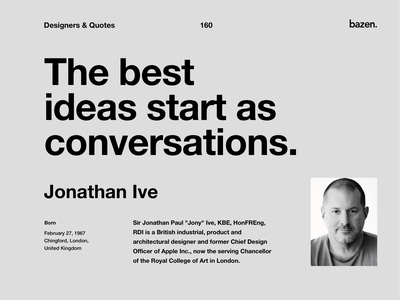 Quote - Johnathan Ive bazen agency design agency inspirational quotes inspirational quote motivational quotes motivationalquote design tips design tip user experience ui user interface johnatan ive quoteoftheday quote design design quotes design quote
