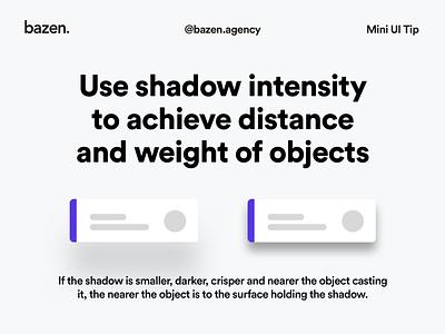 Mini UI Tip - Shadow intensity ui  ux design thinking design agency bazen agency design tips design tip depth of field depth ux design ux ui cards ui card card design cards ui card uidesign ui shadows shadowing shadow