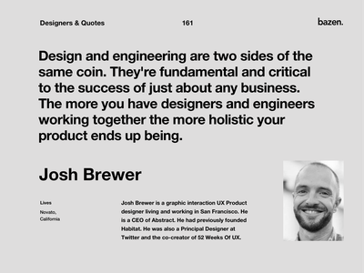 Quote - Josh Brewer product design ux ui design agency bazen agency design thinking design tips design tip uiux inspirational quotes inspirational quote motivationalquote motivational quotes quoteoftheday quote design design quotes design quote