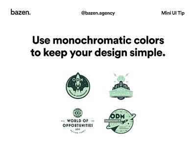 Mini UI Tips - Monochromatic logo color picker ux design tip bazen agency ui design design tips color theory colour theory monochromatic monochrome color palette colour palette color ui color design color scheme colours color