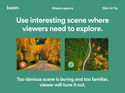 Mini UI Tip - Interesting scene design agency layout exploration layout design bazen agency ui design composite  image design tips design tip composition webdesign graphicdesign