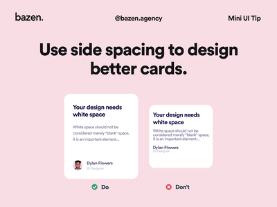 Mini UI Tip - Side spacing cards ui user interface ui ui ui design ui daily design inspiration design thinking design solution bazen agency design tips design tip card layout card template ui cards ui card card ui design card ui card design white space spacing