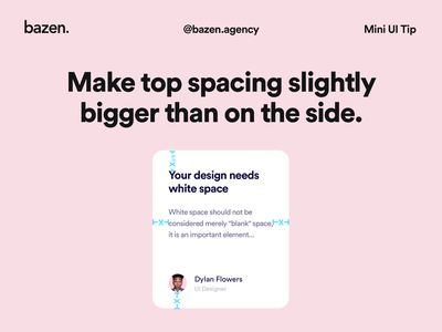 Mini UI Tip - Top spacing ui design design thinking design inspiration bazen agency design tip design tips ui white space typography space exploration ui cards ui card card ui design card ui card design cards ui padding spacing