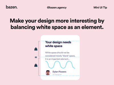 Mini UI Tip - White space as an element negative space design thinking design inspiration uiux ui design ux ui bazen agency design tips design tip padding spacing design elements design element ui cards ui card card ui design card ui card design white space