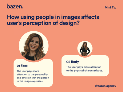 Design Tip - How to use people images bazen agency design psychology user interface avatar image avatar layout design images design uiux ui design design tip ux design tips graphic design ui