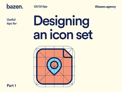 Design Tip - Designing an icon set graphic design brand layout brand identity dailyui icon design icon set icon brand design branding design brand branding bazen agency illustration design uiux ui design design tip ux design tips ui