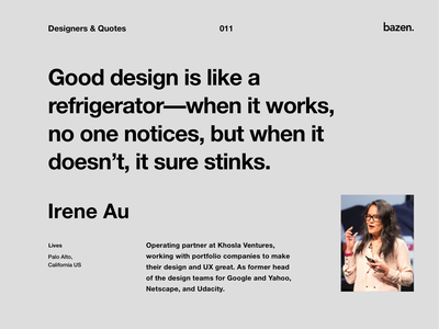 Quote - Irene Au business quotes design learn inspiration designers quotes ux design ux ui design ui tips design  quotes quote pricing learning good design design team design agency creative agency business design business
