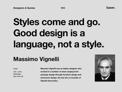 Quote - Massimo Vignelli creative agency creativetam creative ux tips ui tips quote motivational quotes product design inspirations motivation tips quotes quote design inspiration business design uxui principles ux ui uxdesign