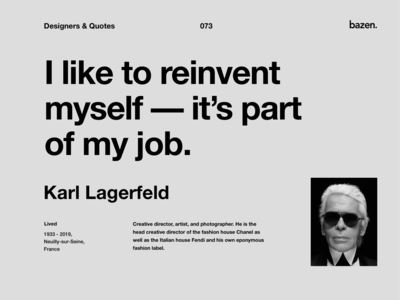 Quote - Karl Lagerfeld