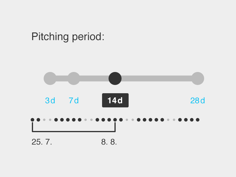 Pitching Period Concept pitch period ui ux slider range touch