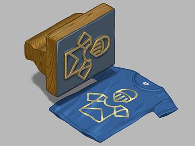 Jack Factory t shirt digital art print gold tshirt isometric illustration logo brand