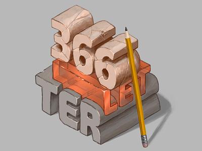 366letter Art Project typography digital art pencil isometric illustration