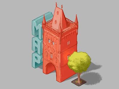 Use It Map Prague 2017 powder tower prašná brána digital art typography isometric illustration