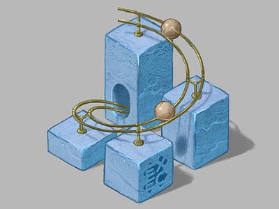 EXEC digital art marble isometric illustration logo brand