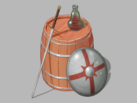 Medieval Times digital art wine shield barrel sword isometric illustration