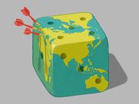 Random Travel digital art isometric dice dart earth planet illustration