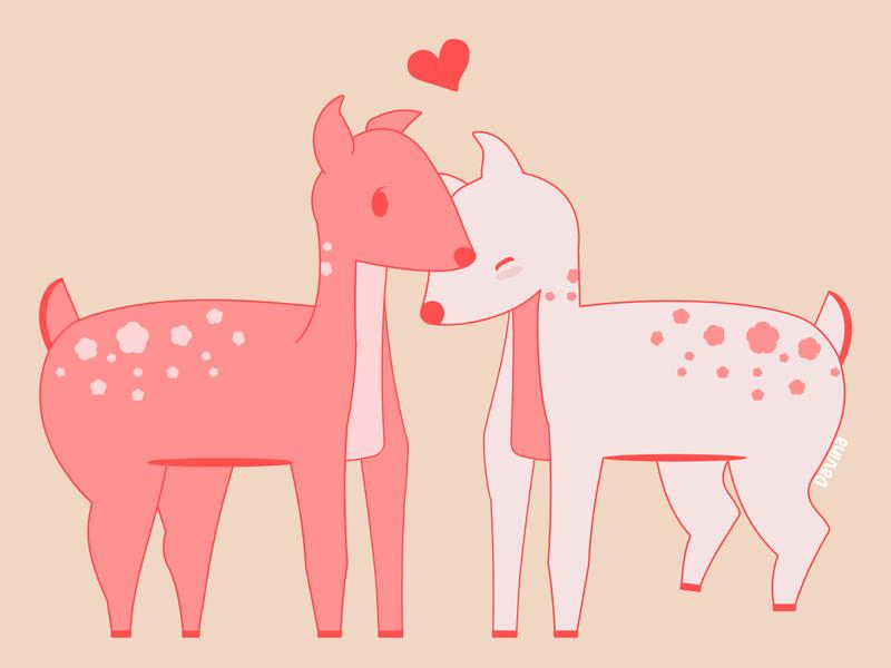 Deer deers deer illustration vectorart vectordesign pink love heart deer madeinaffinity illustration graphic design design cute affinitydesigner vector
