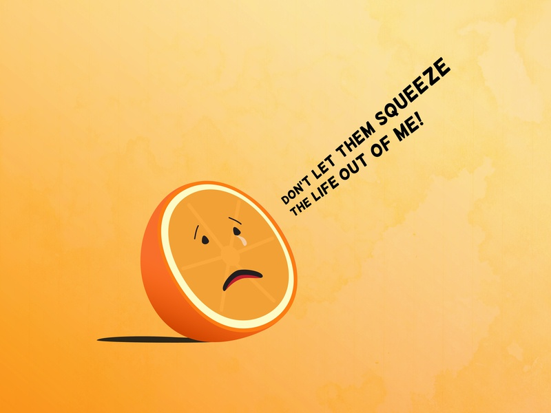 Orange Squeeze humour humor funny fruit orange juice orange character typography vector illustration