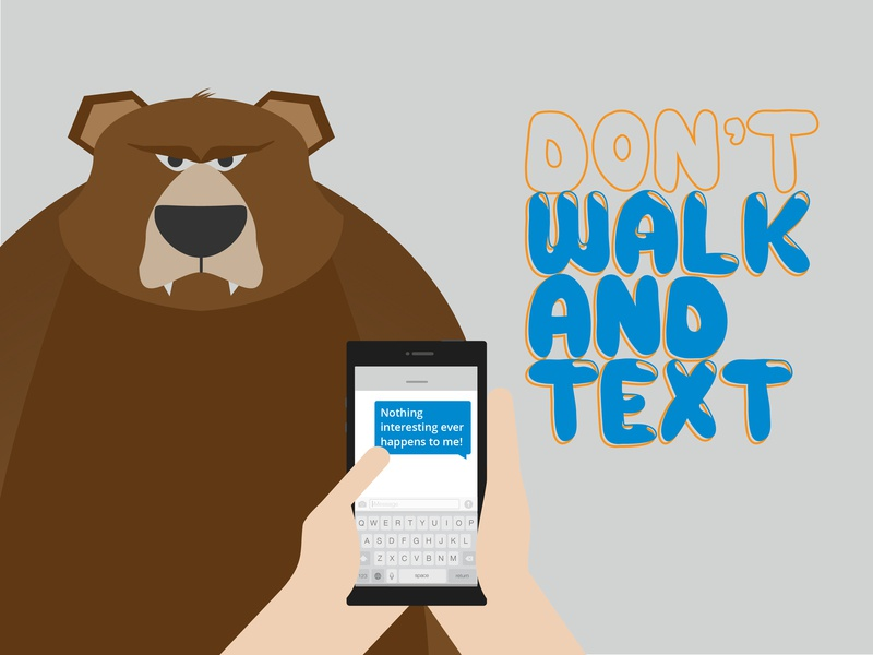 Look up! funny grizzly bear texting mobile phone cell phone illustration character vector