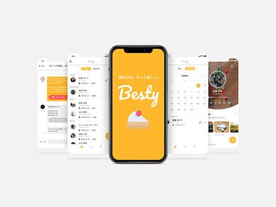 Besty -Birthday Management App typography logo flat animation icon app ui ux design