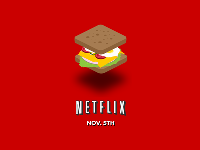 Netflix & Sandwich Illustration isometric illustrator logo branding typography ui icon vector design illustration