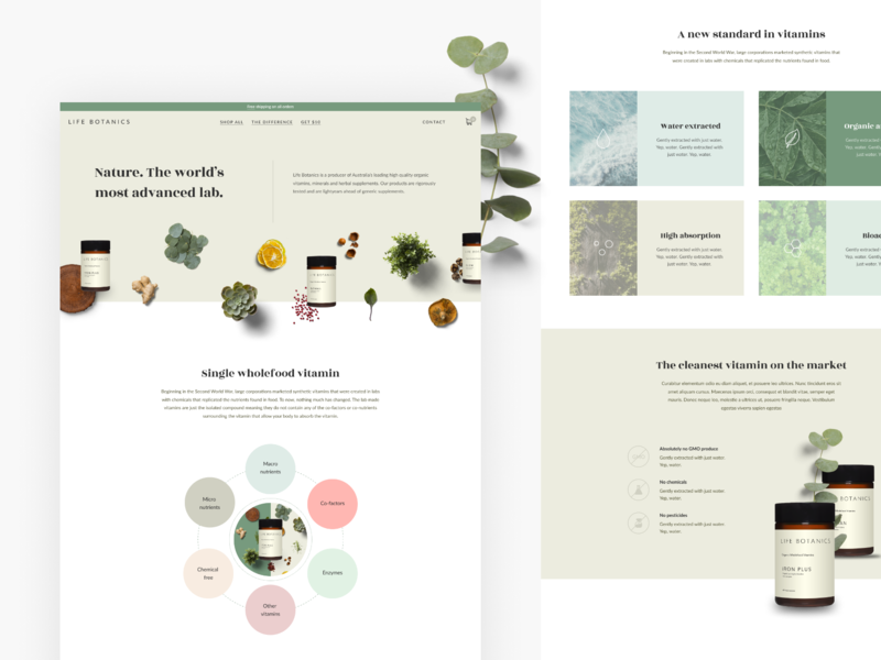 Life Botanics / The Difference branding ecommerce health supplement mineral vitamin earth clena pastel minimal nature content copywriting copy ux  ui ux website webdesign product mockup