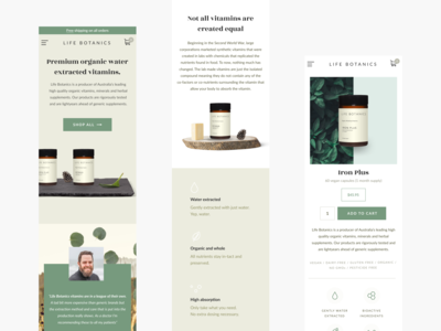 Life Botanics / Mobile pages