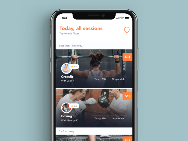 Kubo / Sessions list mobile app design booking sports orange clean app on demand personal trainer health exercise apple iphone xs iphone x user experience fitness user interface ui mobile ui ux mobile