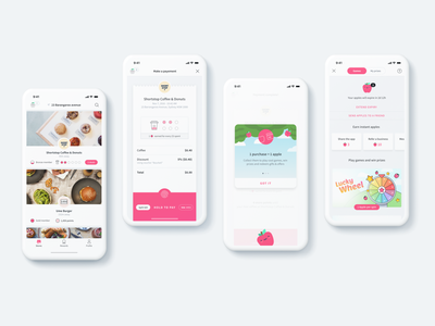 Gamified Mobile Payments App points games pink fun ux ui reward restaurant payments mobile minimal loyalty iphone ios gamification food fintech clean card apple