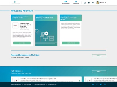 Showcaser Art Board 1 cv video app video app ux wireframing user centre design ui prototyping information architecture digital platform design