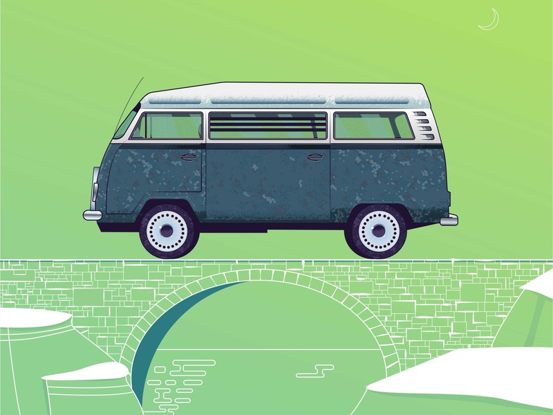 The Classic VW vw van vw bus textures grain monoline car illustration graphic  design graphic artist gradient color wallpaper illustation vector artwork