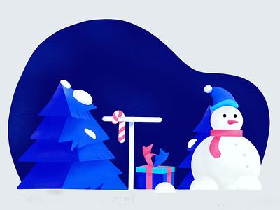 Xmas Time 2020 trees snowman snow grain texture wallpaper christmas gift xmas procreate illustation