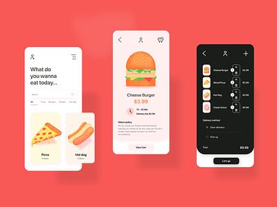 Food App food menu app design hotdog burger pizza product food illustration food app icons food business wallpaper illustation