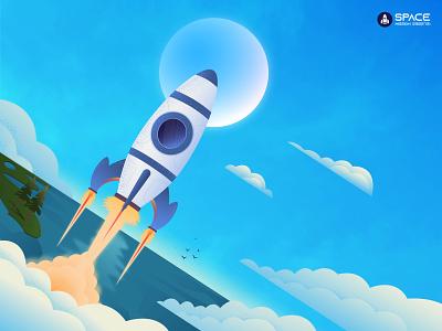 Rocket 🚀🚀🚀 landscape mission moon wallpaper spacex space rocket sky vector artwork illustation