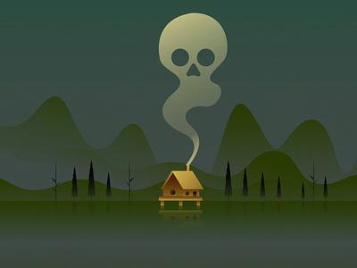 Swamp Cabin green trees skull smoke cabin wallpaper vector artwork illustation