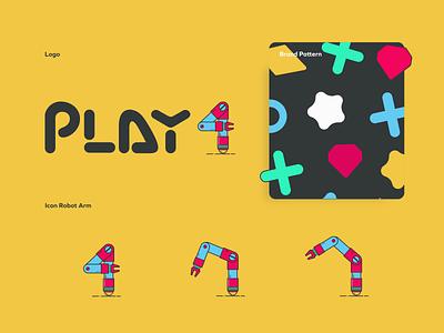 Play4 - Brand & Dashboard UI gift card rewards app business dashboard ui pattern robot arm logo gamer brand design brand illustation