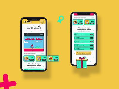Play 4 - Dashboard UI illustation gift cards diamond redeemer robots gift rewards app gamer brand dashboard app dashboard ui