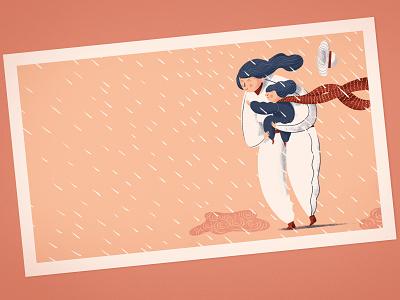 Raná péče care children mother rain illustration characters